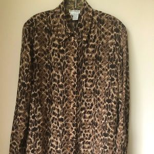 100% silk animal print blouse